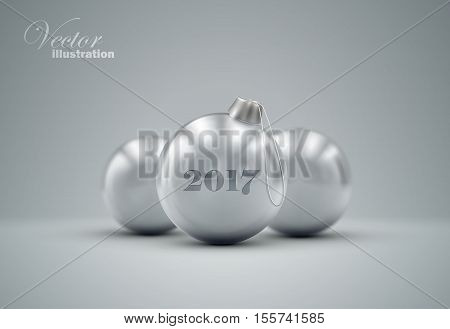 Silver Christmas balls. Holiday vector illustration of traditional festive Happy New Year baubles. Merry Christmas and Happy New 2017 Year greeting card design element.