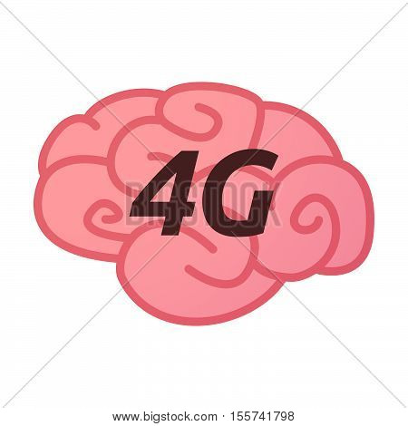 Isolated Brain Icon With    The Text 4G