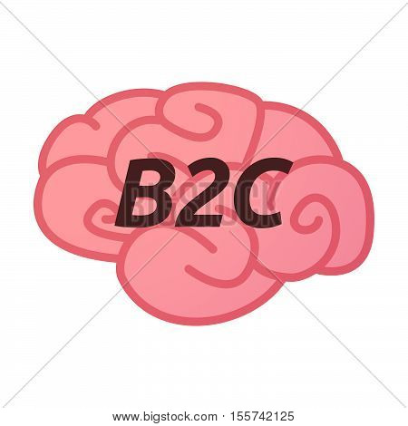 Isolated Brain Icon With    The Text B2C