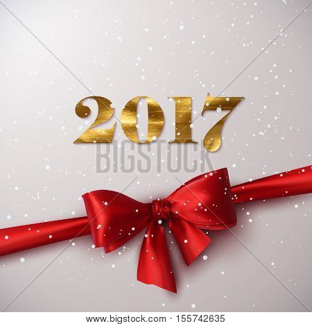 Happy New 2017 Year. Holiday Vector Illustration Of Happy New 2017 Year Label With Golden Paint Texture, Red Satin Ribbon, Bow And Snowflakes