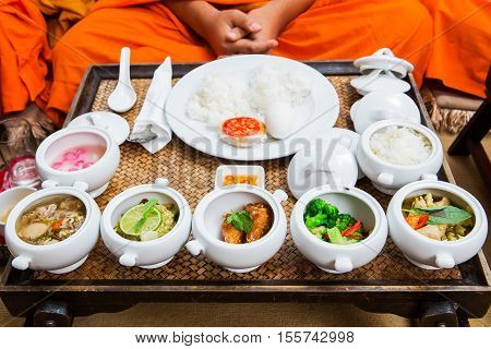 Food for consecrate to monk in ceremony of Thailand