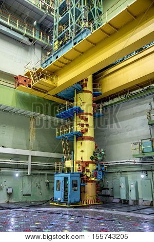 Kurchatov, Russia - JUNE 23, 2016: Crane for changing fuel rods inside reactor room of the Kursk Nuclear Power Plant on June 23 2016, in Russia