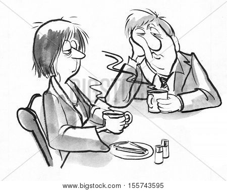 Black and white illustration of two sleepy businesspeople drinking coffee. poster