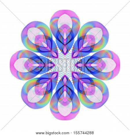 Colored Bright Rainbow Decoration on Transparent Background. Universal Abstraction with Holographic Effect.