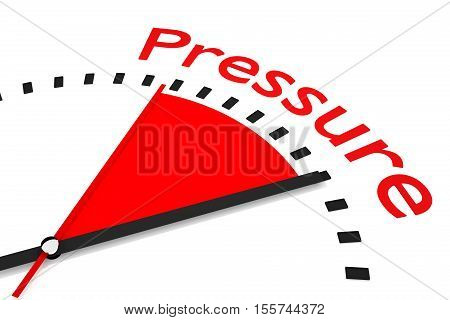 clock with red seconds hand area pressure 3D Illustration