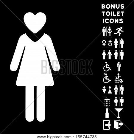 Mistress icon and bonus man and woman restroom symbols. Vector illustration style is flat iconic symbols, white color, black background.
