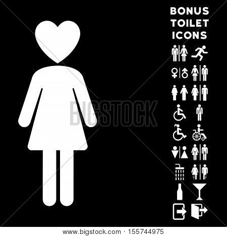 Mistress icon and bonus man and female restroom symbols. Vector illustration style is flat iconic symbols, white color, black background.