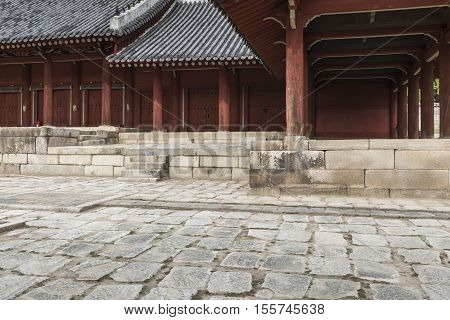 SEOUL - OCTOBER 21 2016: Jeongjeon - the main hall of the Jongmyo Shrine in Seoul South Korea. It is the oldest royal Confucian shrine preserved and UNESCO World Heritage Site.
