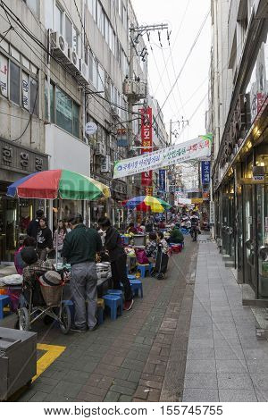 Busan - October 27, 2016:view Of Kukje Market , Nampo-dong Shopping Street, Busan , Korea