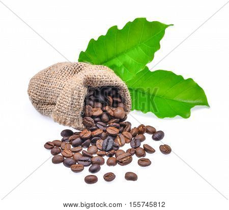 coffee beans flowing out of burlap hessian sacking with coffee leaf isolated on white background