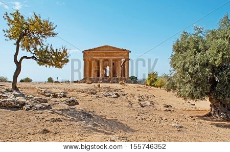 The Temple of Concordia is one of the most notable edifices of the Greek civilization preserved in Valley of Temples Agrigento Sicily Italy.