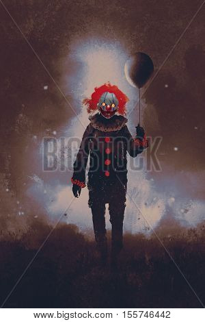evil clown standing with a black balloon against a dark background, illustration painting