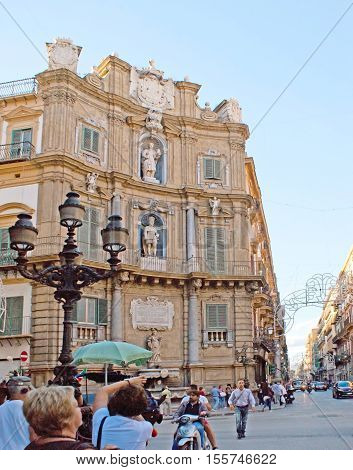 PALERMO ITALY - OCTOBER 2 2012: Four Corners Square is one of the most beautiful city locations popular among tourists on October 2 in Palermo.