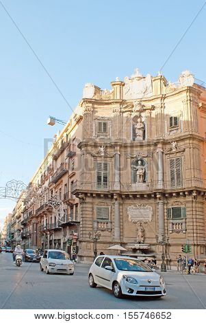 PALERMO ITALY - OCTOBER 2 2012: The corner facade of the mansion located in Vigliena Square also named as Four Corners Square on October 2 in Palermo.