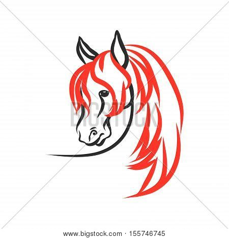 Horse with red mane on a white background. The figure's head stallion of the lines. Vector abstract illustration