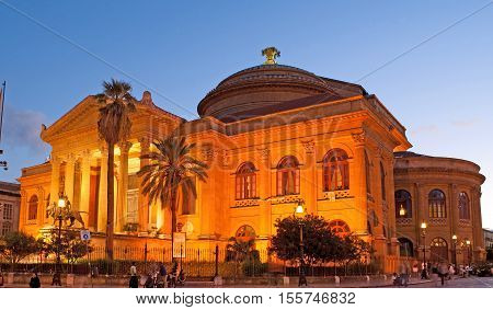 PALERMO ITALY - OCTOBER 2 2012: The evening view of Teatro Massimo - Opera and Ballet Theater in Verdi Square on October 2 in Palermo.