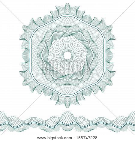 Set: Guilloche Pattern Rosette and border for certificate or diploma isolated. Vector illustration.