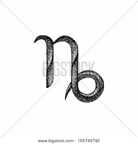Hand Drawn Capricorn Zodiac Sign.
