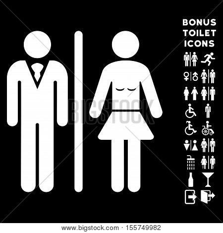 Toilet Persons icon and bonus male and female toilet symbols. Vector illustration style is flat iconic symbols, white color, black background.