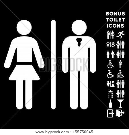 Toilet Persons icon and bonus gentleman and woman lavatory symbols. Vector illustration style is flat iconic symbols, white color, black background.