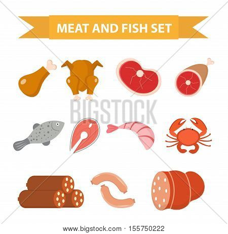 Meat and seafood icon set flat style. Meat and fish set isolated on a white background. Meat and sausage protein foods. Vector illustration