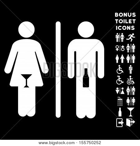 WC Persons icon and bonus man and lady restroom symbols. Vector illustration style is flat iconic symbols, white color, black background.