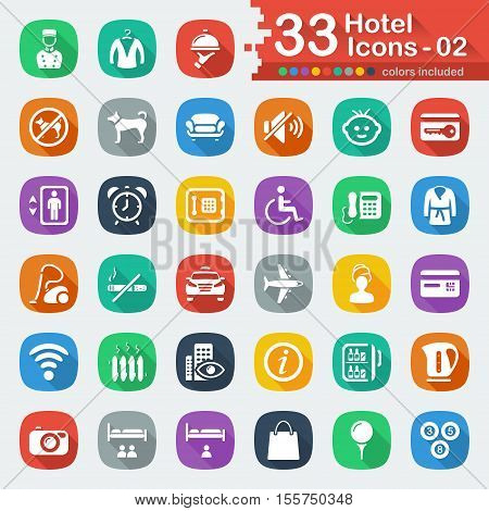 Flat hotel icons for web and mobile