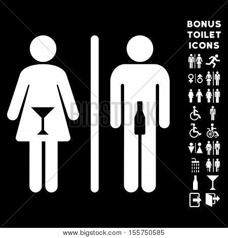 WC Persons icon and bonus male and female toilet symbols. Vector illustration style is flat iconic symbols, white color, black background.