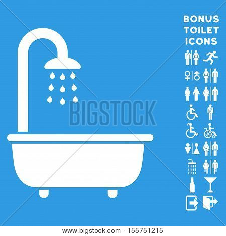 Bath Shower icon and bonus gentleman and female lavatory symbols. Vector illustration style is flat iconic symbols, white color, blue background.