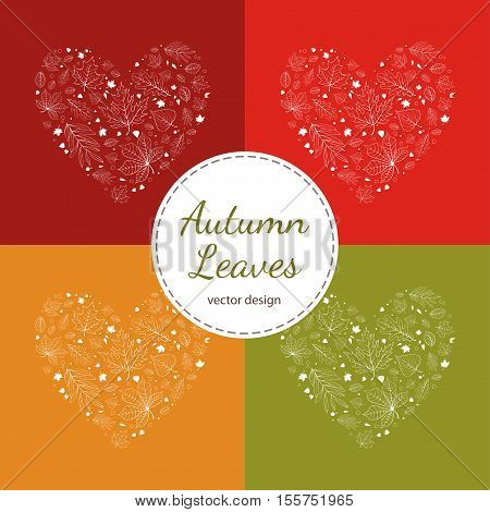 Set of autumn leaves heart designs white outline on red, yellow and green background.