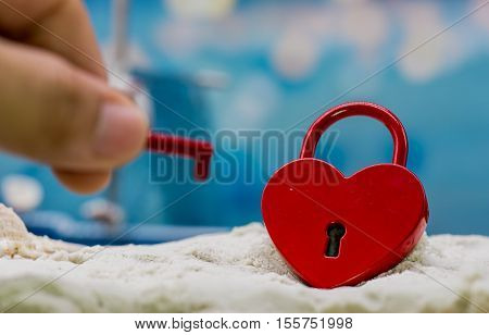 red heart key on the beach, Valentine and Sweetest Day