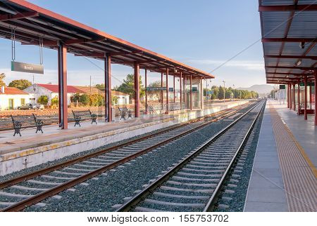 The train station and the platforms in Ronda. Spain. Andalusia.