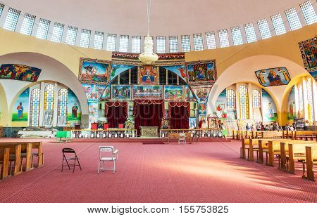 Axum, Ethiopia - January 20, 2016: The modern church of Our Lady Mary of Sion
