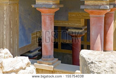 Crete, Greece - June 14, 2006: The archaeological site of the Knosso palace