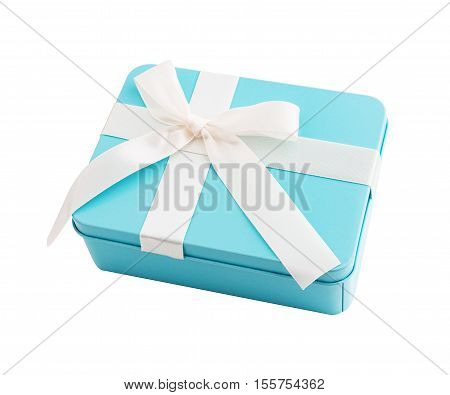 Rectangular metal gift box with purple bow isolated on white