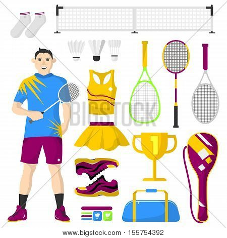 Badminton icons set. Badminton, sport equipment and uniform for workout and tournament. Equipment used in the sport. Vector isolated illustration on white background.