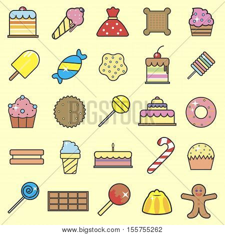 Set of sweet food icons set. Tasty collection of Sweets, donut cake cupcake, lollipop jelly macaroon cookie. Flat outline style vector illustration.