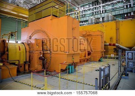 Novovoronezh, Russia - April 04, 2015: Turbo generator at the machinery room of fifth power unit of the Novovoronezh Nuclear Power Plant. Blog tour to Nuclear Power Plant on April 04 2015, in Russia