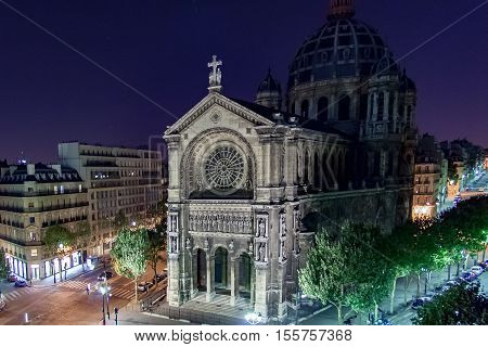 PARIS, FRANCE APRIL 28, 2016Church of St. Augustine at night. is a Catholic church located at 46 boulevard Malesherbes in the 8th arrondissement of Paris. France