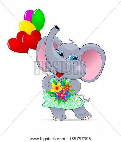 Baby elephant with flowers and balloons. Greeting card . Cartoon baby elephant .