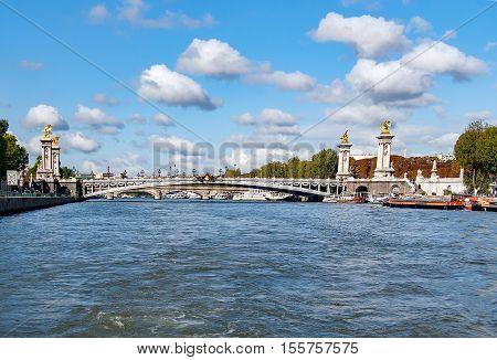 PARIS, FRANE- circa april 2016. Pont Alexandre III (Alexandre III bridge) . The most ornate, extravagant bridge in Paris