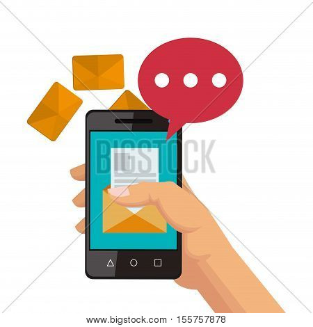 Smartphone bubble and sms icon. Email message marketing media and communication theme. Isolated design. Vector illustration