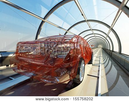 Transparent car in a glass tunnel.3d render