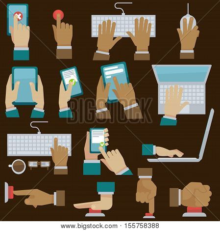 Hands set with gadgets. Vector illustration. Finger pushes button. Flat style.