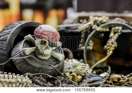 pirate and treasure Columbus Day, still life