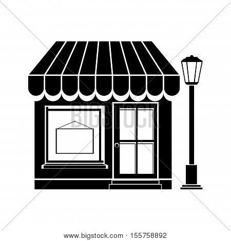 silhouette of little store building icon over white background. vector illustration
