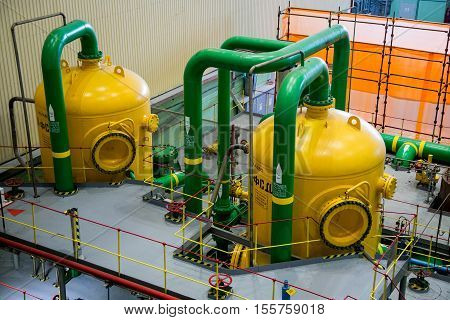 Novovoronezh, Russia - April 04, 2015: The machinery room of fifth power unit of the  Novovoronezh Nuclear Power Plant. Filters of mixed action. They Purify turbine condensate from impurities. Blog tour to Nuclear Power Plant on April 04 2015, in Russia