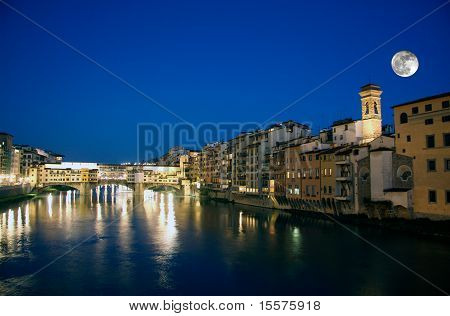 Ponte Vecchio in Florence and Full moon