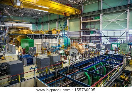 Novovoronezh, Russia - April 04, 2015: The machinery room of fifth power unit of the  Novovoronezh Nuclear Power Plant. Blog tour to Nuclear Power Plant on April 04 2015, in Russia