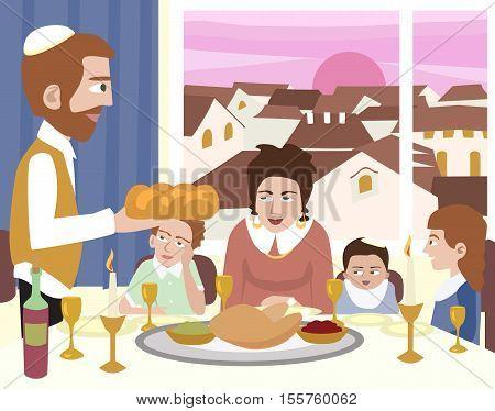 Kabbalat Shabbat, family night meal - colorful vector cartoon illustration